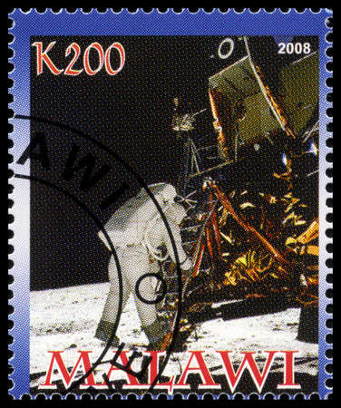 MALAWI - CIRCA 2008: A used postage stamp from Malawi commemorating the Apollo 11 Moon Landing, circa 2008.