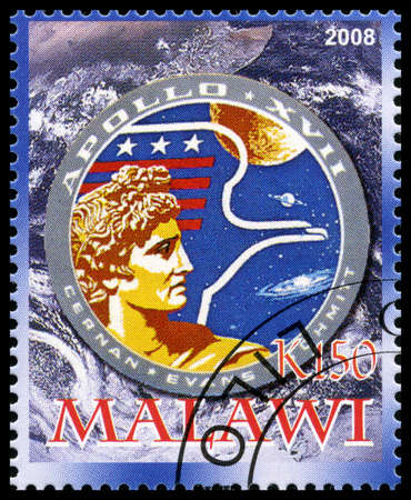 spaceflight: MALAWI - CIRCA 2008: A used postage stamp from Malawi commemorating the Apollo 17 Moon Landing, circa 2008.