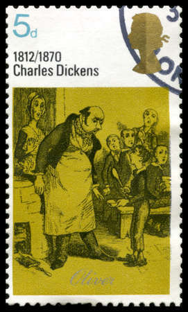 dickensian: UNITED KINGDOM, CIRCA 1970: A vintage British postage stamp commemorating the works of famous English novelist Charles Dickens, circa 1970.