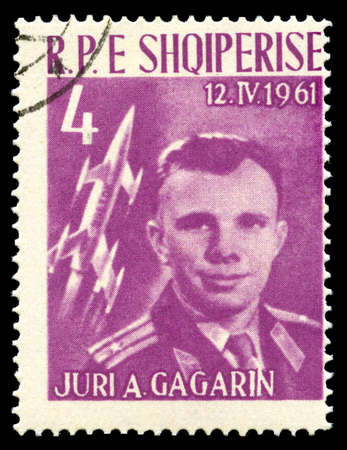 spaceflight: ALBANIA - CIRCA 1962: A vintage postage stamp from Albania celebrating the achievement of Russian Cosmonaut Yuri Gagarin (the first person to travel into outer space), circa 1962.