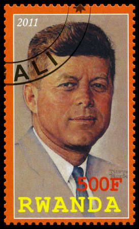 RWANDA - CIRCA 2011: A used postage stamp from Rwanda depicting an image of John. F. Kennedy (35th President of the United States of America), circa 2011.