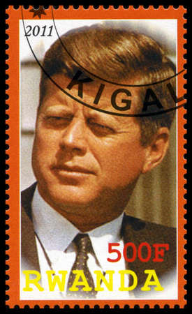 kennedy: RWANDA - CIRCA 2011: A used postage stamp from Rwanda depicting an image of John. F. Kennedy (35th President of the United States of America), circa 2011.