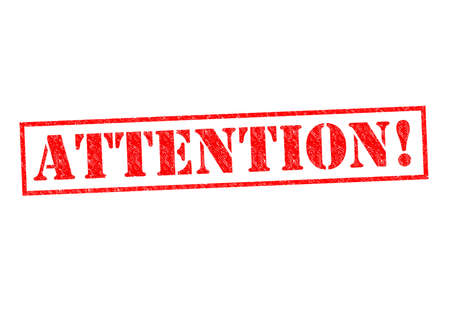 be aware: ATTENTION! red Rubber Stamp over a white background. Stock Photo