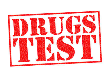 DRUGS TEST red Rubber Stamp over a white background.