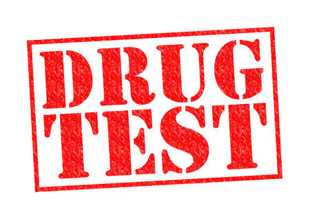 DRUG TEST red Rubber Stamp over a white background.