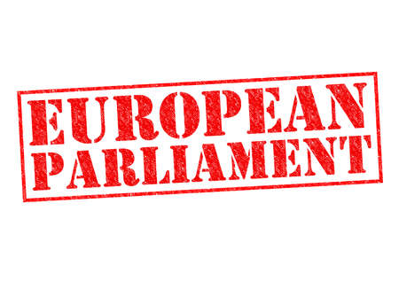 election commission: EUROPEAN PARLIAMENT red Rubber Stamp over a white background.