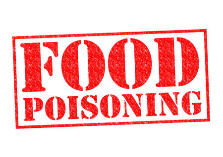 poisoning: FOOD POISONING red Rubber Stamp over a white background.