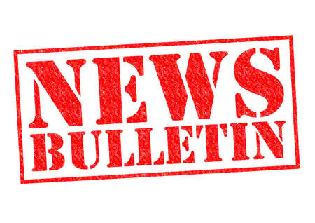 newsflash: NEWS BULLETIN red Rubber Stamp over a white background.