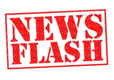 NEWS FLASH rode Rubber Stamp over een witte achtergrond. Stockfoto
