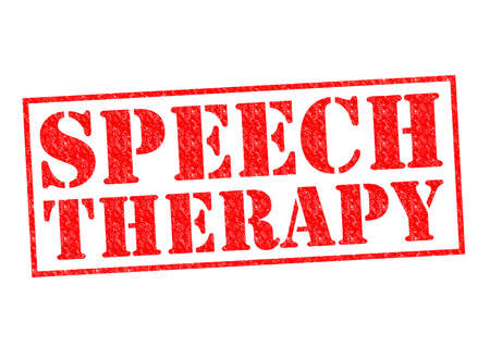 sign language: SPEECH THERAPY red Rubber Stamp over a white background.