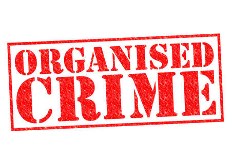 organised: ORGANISED CRIME red Rubber Stamp over a white background.