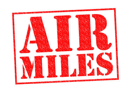 miles: AIR MILES red Rubber Stamp over a white background.