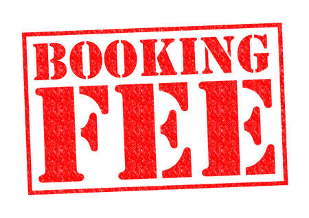 hidden fees: BOOKING FEE red Rubber Stamp over a white background.