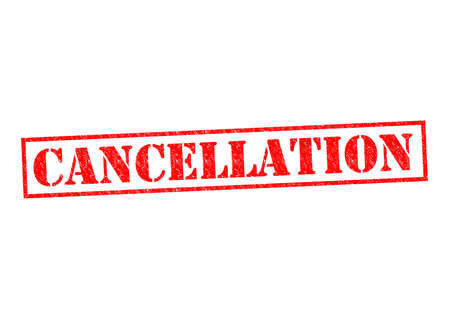 completed: CANCELLATION red Rubber Stamp over a white background.
