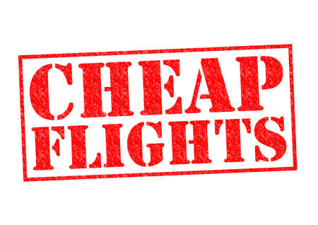 CHEAP FLIGHTS red Rubber stamp over a white background. photo