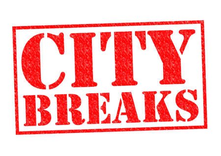 CITY BREAKS red Rubber Stamp over a white background. photo