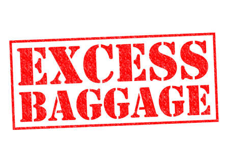excess: EXCESS BAGGAGE red Rubber stamp over a white background. Stock Photo