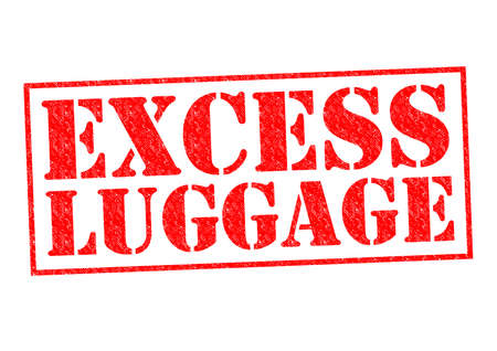 excess: EXCESS LUGGAGE red Rubber stamp over a white background. Stock Photo