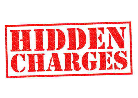 hidden fees: HIDDEN CHARGES red Rubber Stamp over a white background.
