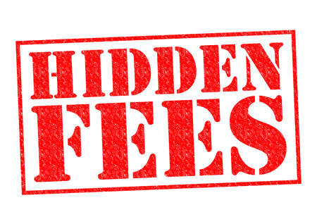 fee: HIDDEN FEES red Rubber Stamp over a white background. Stock Photo