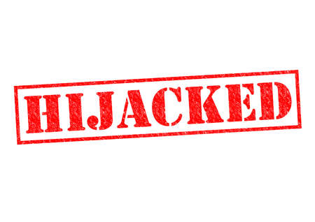 hijacked: HIJACKED red Rubber Stamp over a white background.