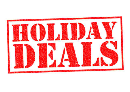 HOLIDAY DEALS red Rubber Stamp over a white background. photo