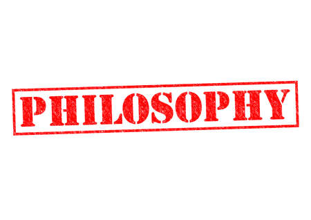 ideological: PHILOSOPHY red Rubber Stamp over a white background.