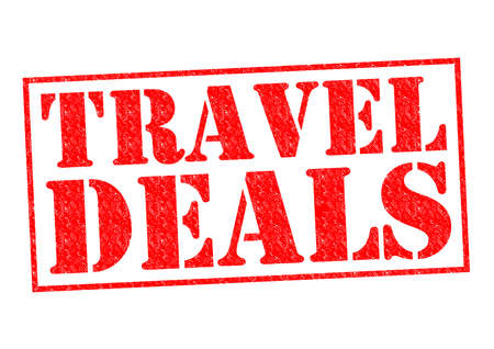 TRAVEL DEALS red Rubber Stamp over a white background. photo