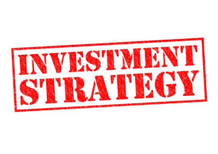 investment strategy: INVESTMENT STRATEGY red Rubber Stamp over a white background.