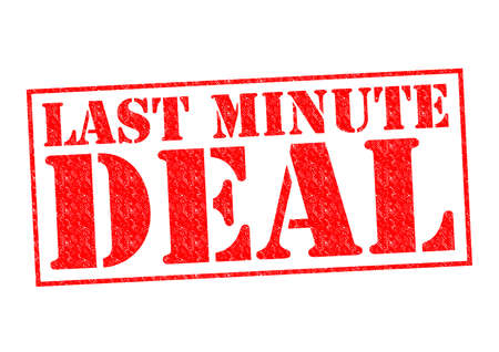 LAST MINUTE DEAL red Rubber Stamp over a white background. photo
