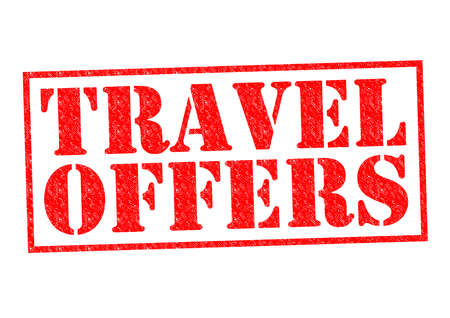 TRAVEL OFFERS red Rubber Stamp over a white background. photo