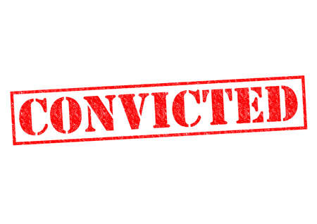 courtroom: CONVICTED red Rubber Stamp over a white background.