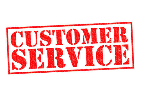 patron: CUSTOMER SERVICE red Rubber Stamp over a white background. Stock Photo