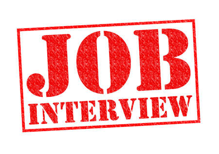 JOB INTERVIEW red Rubber Stamp over a white background. photo