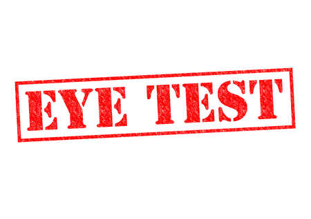 long sightedness: EYE TEST red Rubber Stamp over a white background. Stock Photo