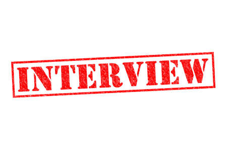 INTERVIEW red Rubber Stamp over a white background. photo