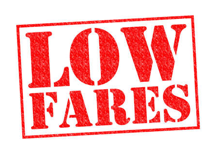 airline: LOW FARES red Rubber Stamp over a white background.