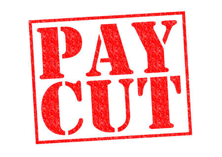 PAY CUT red Rubber Stamp over a white background.