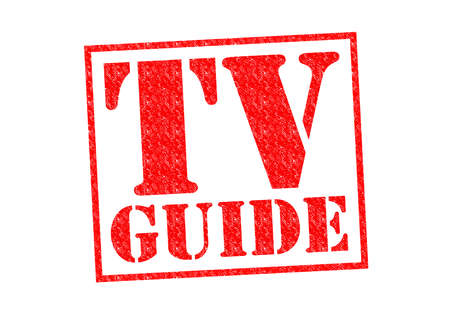 listings: TV GUIDE red Rubber Stamp over a white background. Stock Photo