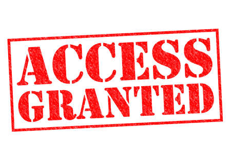 granted: ACCESS GRANTED red Rubber Stamp over a white background.