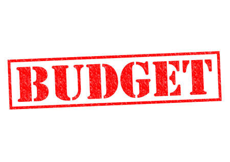 deficit target: BUDGET red Rubber Stamp over a white background.