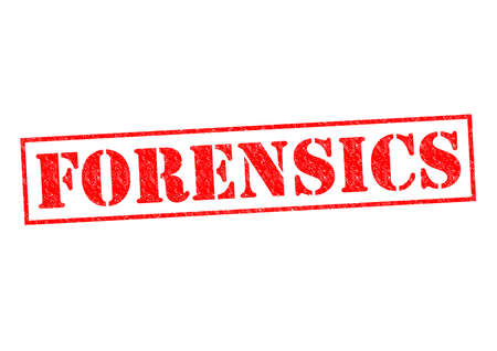 forensics: FORENSICS red Rubber Stamp over a white background. Stock Photo