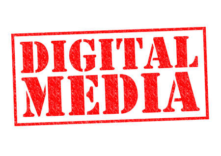 micro chip: DIGITAL MEDIA red Rubber stamp over a white background. Stock Photo