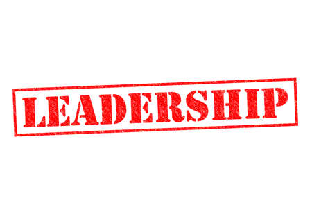 authoritarian: LEADERSHIP red Rubber Stamp over a white background.