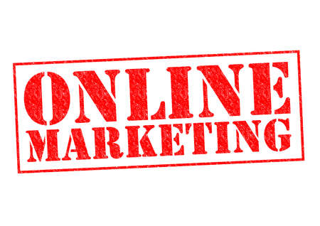 floating market: ONLINE MARKETING red Rubber Stamp over a white background.