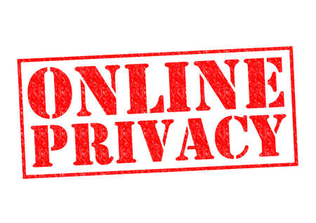 ONLINE PRIVACY red Rubber Stamp over a white background. photo