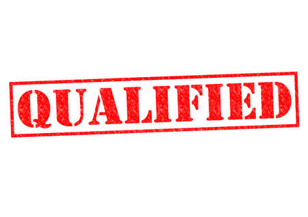 qualified: QUALIFIED red Rubber Stamp over a white background.