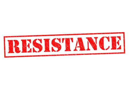 halted: RESISTANCE red Rubber Stamp over a white background.