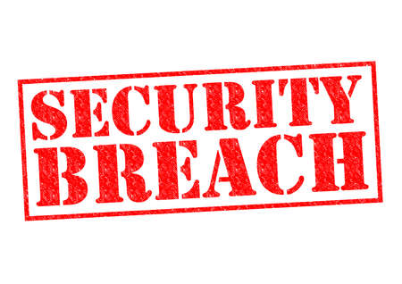 raid: SECURITY BREACH red Rubber Stamp over a white background. Stock Photo