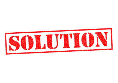 SOLUTION red Rubber Stamp over a white background. photo